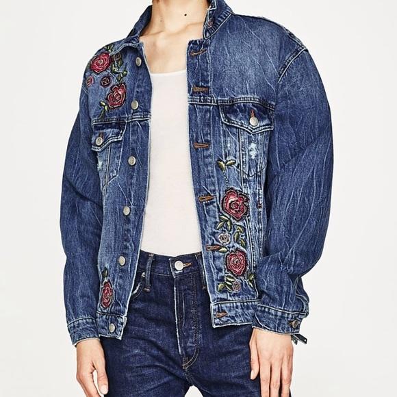 76b9257e Zara Jackets & Coats | Denim Jacket Floral Embroidered Roses | Poshmark